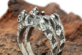otters holding hands rings set two sterling