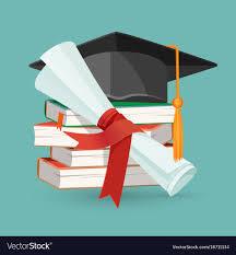 graduation books degree scroll pile of books and black graduation vector image