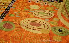 Modern Green Rug Klimt Orange Green Rugs Abstract Wall Hangings Accent Carpets