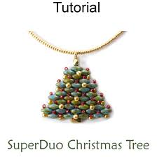 2 hole superduo beaded christmas tree necklace earrings holiday