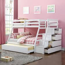 white finish jason twin over full trundle bunk bed with stairs