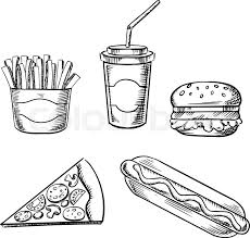 fast food sketches hamburger slice pizza french fries
