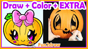 how to draw and color cute pumpkin halloween real pumpkin