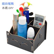 Diy Mdf Desk Diy Wood Pen Holder Made Assembling Desk Organizer Pen Pot