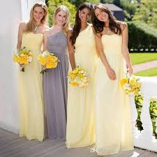 Light Gray Bridesmaid Dress Light Yellow Sheath Chiffon Bridesmaid Dresses 2017 One