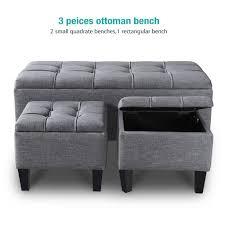 3 piece linen storage ottoman bench modern ottoman storage stool