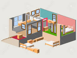 isometric of modern house interior royalty free cliparts vectors