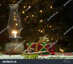 christmas scene featuring lit oil lamp stock photo 65389837