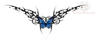 design butterfly and tribal on lower back