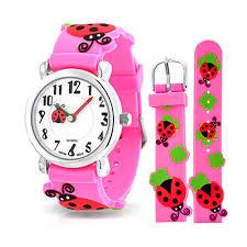 geneva girls pink ladybug clover kids watch stainless steel back