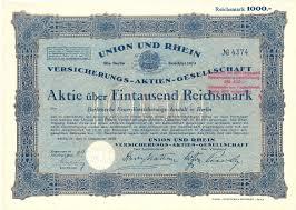 si e de r nion aktie 1000 rm 1926 berlin union und rhein versicherungs ag ma shops