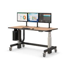 Computer Desk On Wheels Height Adjustable Sit Or Stand Desk With Cpu Holder