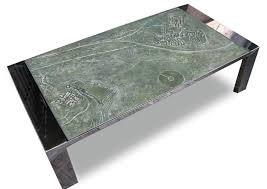 contemporary coffee table engineered stone stainless steel