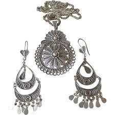 Silver Chandelier by Vintage Turkish Sterling Silver Long Chandelier Earrings