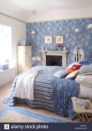 interiors bedrooms wallpaper quilts stock photos u0026 interiors