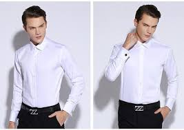 mens dress shirt french cuff tailored slim fit wrinkle free long