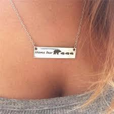 Necklace Monogram Aliexpress Com Buy Fashion Women Men Cute Mama Bear Engraved