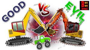 excavator war good vs evil scary heavy vehicles halloween