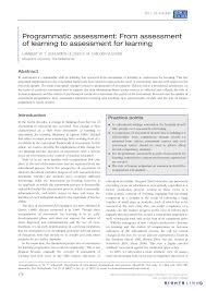 programmatic assessment from assessment of learning to assessment