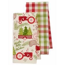 st nicholas square farm tractor trees kitchen towel