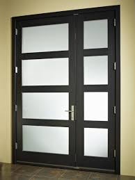 wooden glass door frosted glass door design with black stained wooden material door