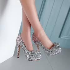 Wedding Shoes Size 9 Glitter Women Pumps Platform Bowtie High Heels Wedding Shoes Woman