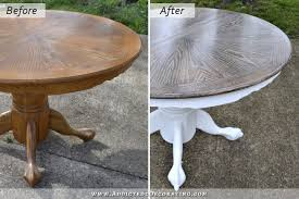 White And Oak Dining Table Cerused Oak Dining Table Table Makeover Finished