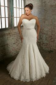 wedding dresses for larger strapless beading belt mermaid white plus size lace wedding dress