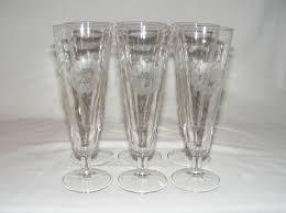 Hughes Cornflower Crystal Cordials 6 Vintage Hughes Cornflower Glass 8