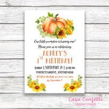 sunflower birthday invitation pumpkin birthday invitation our
