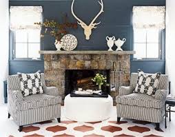 love this room modified antlers gray chairs dark blue walls