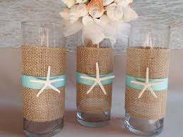 set of 3 starfish u0026 burlap beach vase centerpieces nautical