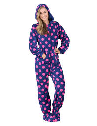 navy pink polka hoodie one hooded footed pajamas