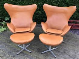 retro chair and ottoman original cognac leather egg chair and ottoman by arne jacobsen for