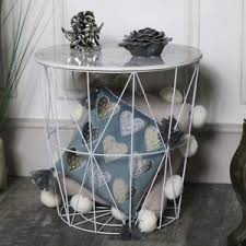 wire and wood basket side table wood marble effect wire basket side occastional table storage