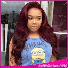 burgundy red body wave long wigs with baby hair glueless
