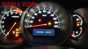 suzuki grand vitara reset service light youtube