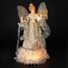 buy kurt adler 16 u0026quot lighted ivory and gold angel tree topper