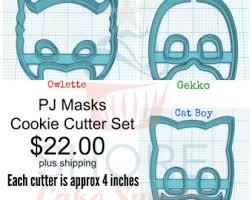 pj masks cookie cutters cat boy gekko owlette throw