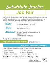 chester county substitute teacher job fair scheduled for january 14
