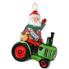 santa on lawn tractor glass ornament hobbies