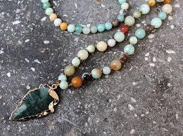 handmade long necklace images Fancy scandal amazonite stones rosary chain arrowhead pendant mala jpg