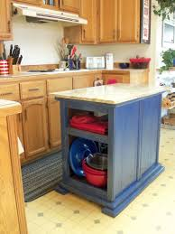 terrific small wooden kitchen islands with blue paint color