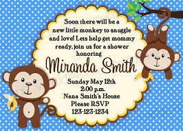monkey baby shower invitation boy and options print your
