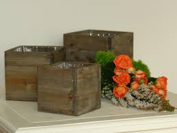 old and vintage wood flower boxes for small deck or patio spaces