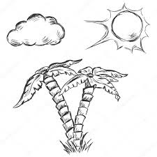 vector sketch illustration two palm trees sun and clouds