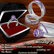 amethyst engagement ring sets second marketplace milady s crown platinum amethyst