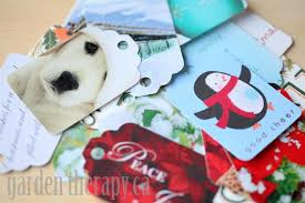recycling cards into gift tags garden therapy