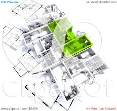 clipart illustration of green and white 3d house floor plans on