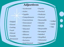 list of adjectives for resume cv writing